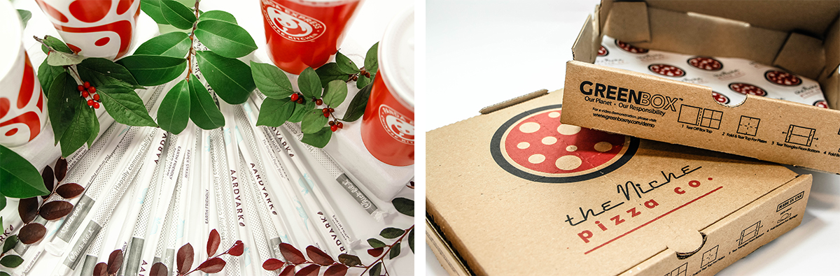 (left) Photo of compostable straws and paper drink items with leaves. (right) Niche Pizza Co cardboard boxes.